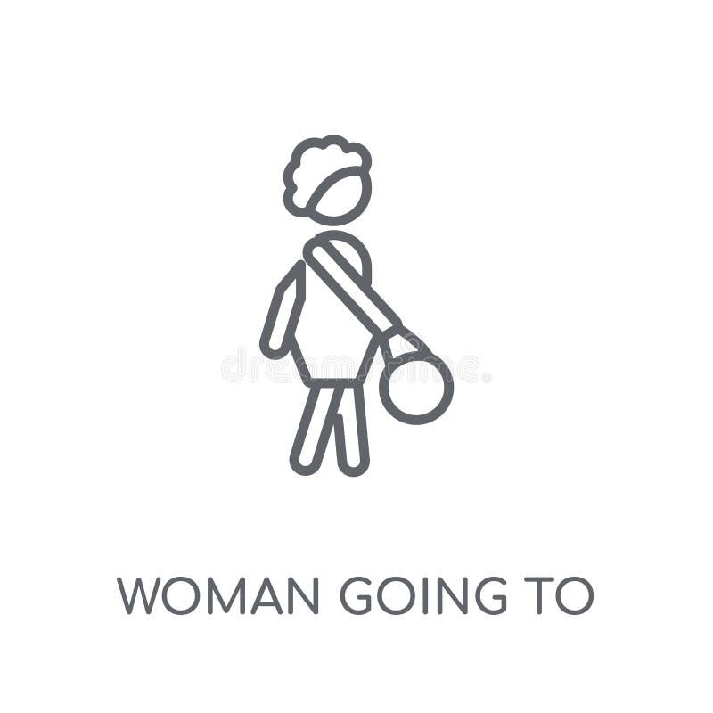 Женщина идя работать линейный значок Современная женщина плана идя к w бесплатная иллюстрация