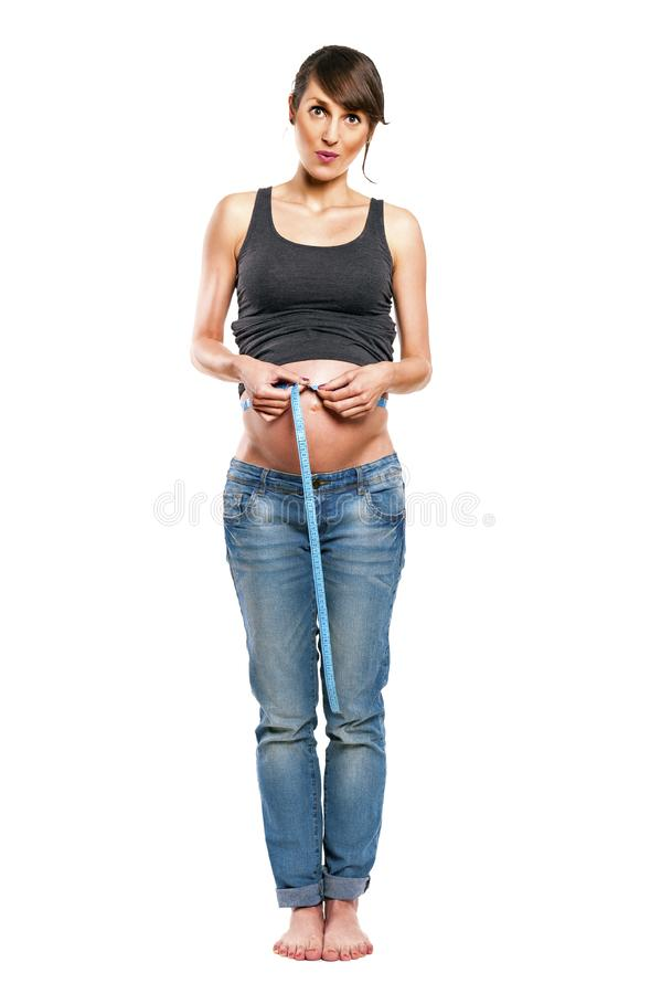 женщина изолированная предпосылкой супоросая белая стоковые фото