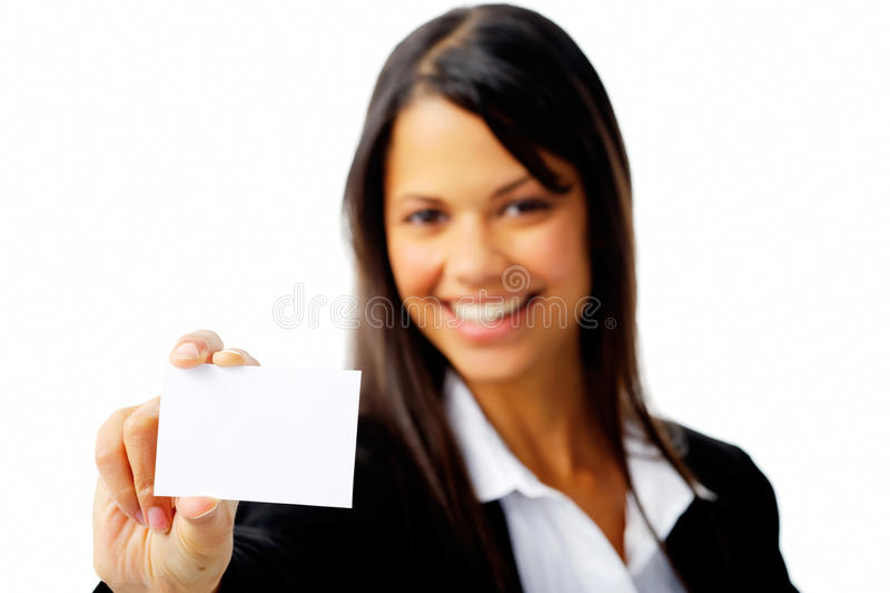 женщина изолированная businesscard стоковые фотографии rf
