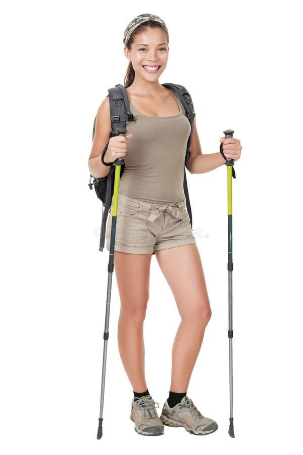 женщина изолированная hiker стоковая фотография