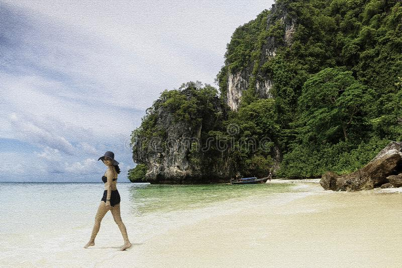 Женщина иллюстрации в бикини и sunhat идя на пляж в плитках мозаики стоковые изображения