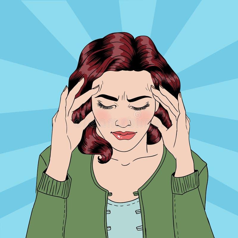 Женщина имеет головную боль Стресс женщины домашнее усилие иллюстрация штока