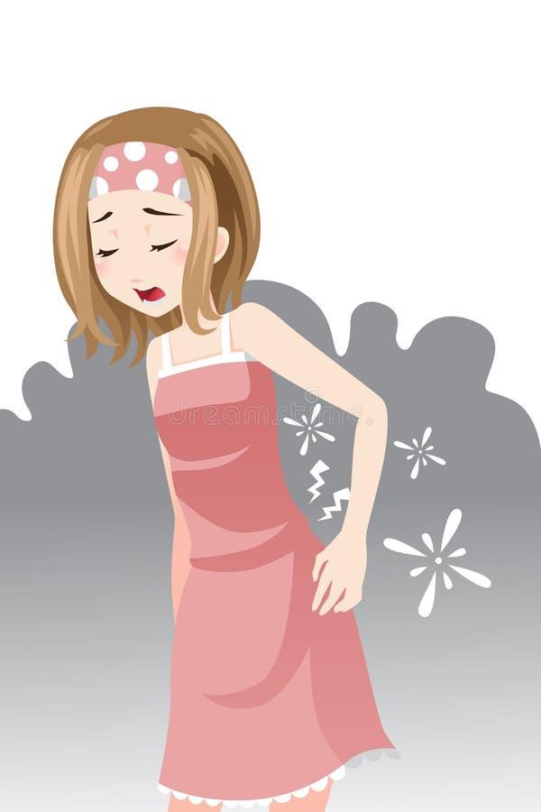 Женщина имея боль в спине бесплатная иллюстрация