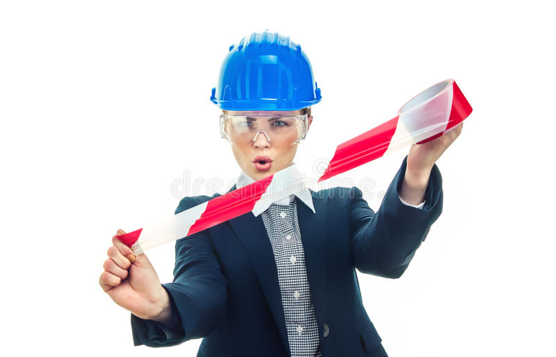 Женщина инженера над белой предпосылкой стоковая фотография