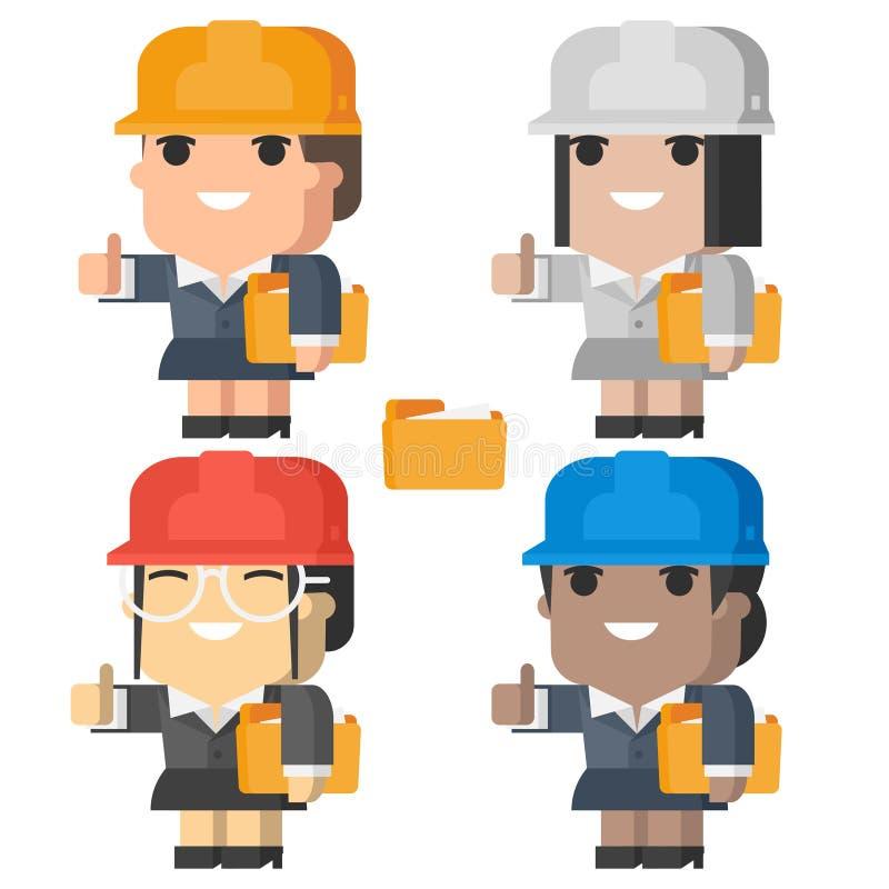 Женщина инженера усмехаясь и показывая большие пальцы руки вверх иллюстрация штока