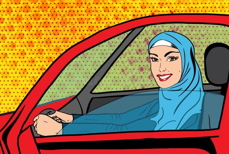 Женщина искусства шипучки вектора мусульманская в автомобиле бесплатная иллюстрация