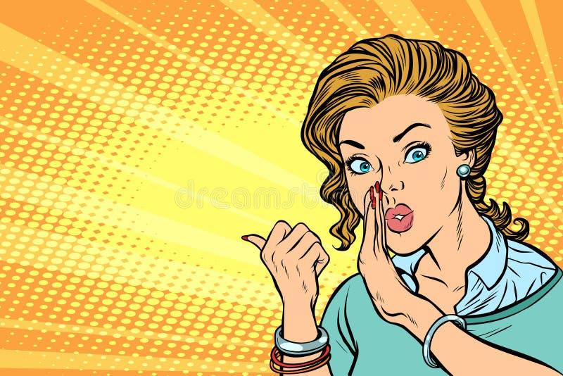 Женщина искусства шипучки говоря в секрете бесплатная иллюстрация