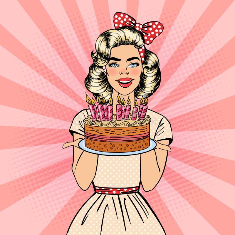 Женщина искусства шипучки красивая держа плиту с именниным пирогом с днем рождений с свечами бесплатная иллюстрация
