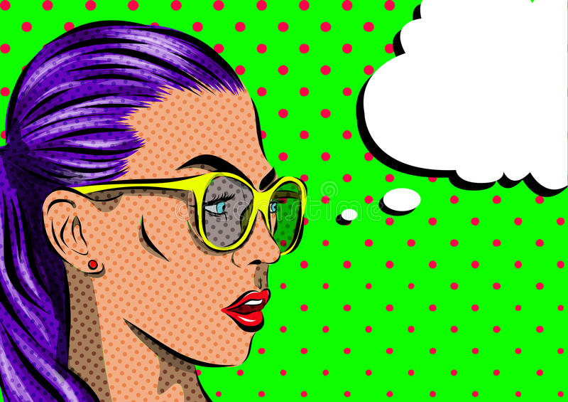 Женщина искусства шипучки с солнечными очками - на предпосылке полька-точек вектор иллюстрация штока