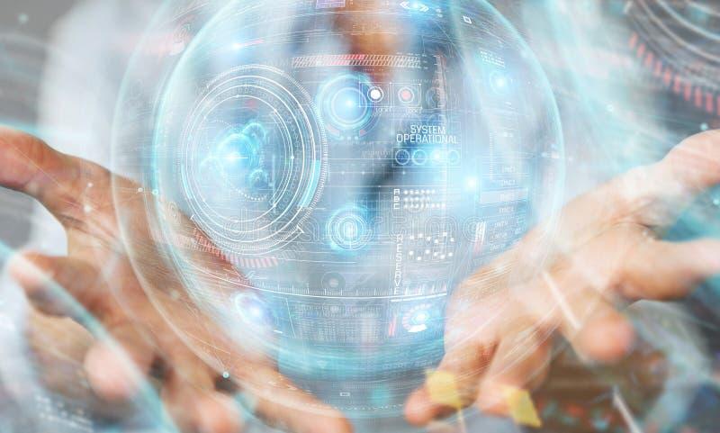 Женщина, использующая цифровой технологический интерфейс с трехмерной визуализацией данных стоковое фото rf