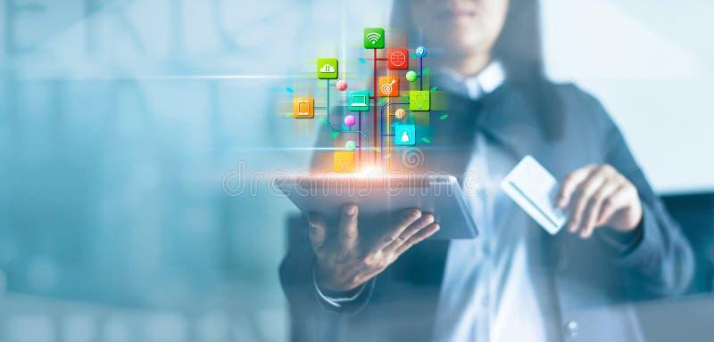 Женщина используя планшет и онлайн-платежи, маркетинг цифров Сеть банка Онлайн покупки и сеть клиента значка стоковые изображения