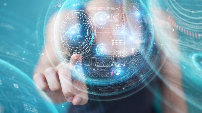 Женщина используя цифровой технологический интерфейс с переводом данных 3D иллюстрация штока