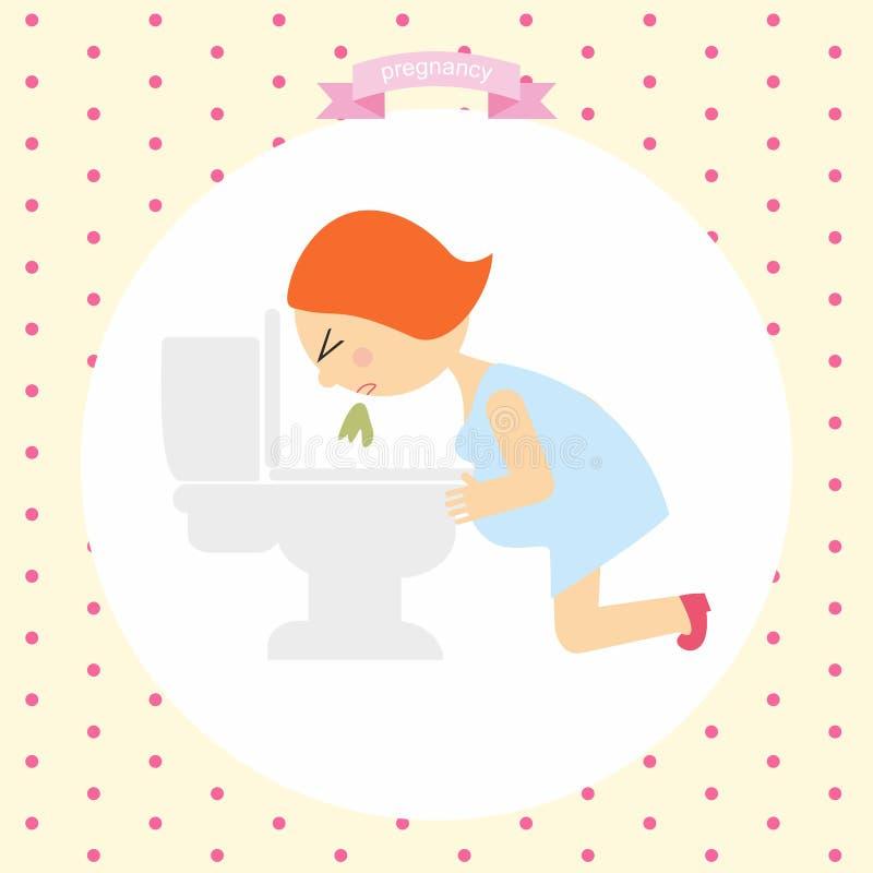 Женщина испытывая болезнь утра знаки симптомов беременности серия беременности иллюстрация штока