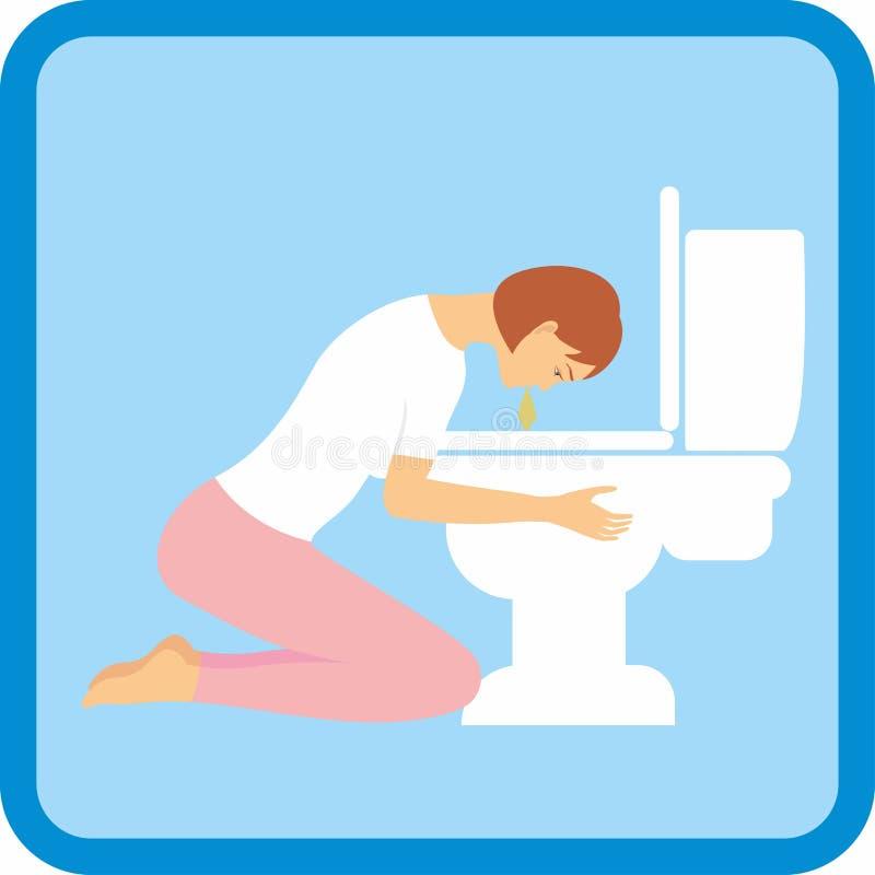 Женщина испытывая болезнь утра знаки симптомов беременности бесплатная иллюстрация