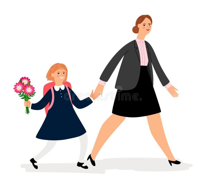 Женщина и девушка идя обучить иллюстрация вектора