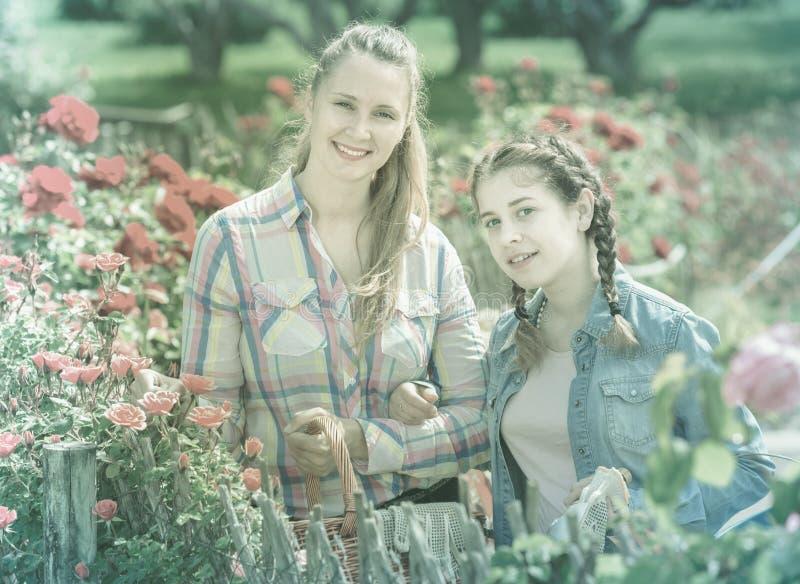 Женщина и девушка держа корзину и положение близко зацветая ros стоковая фотография