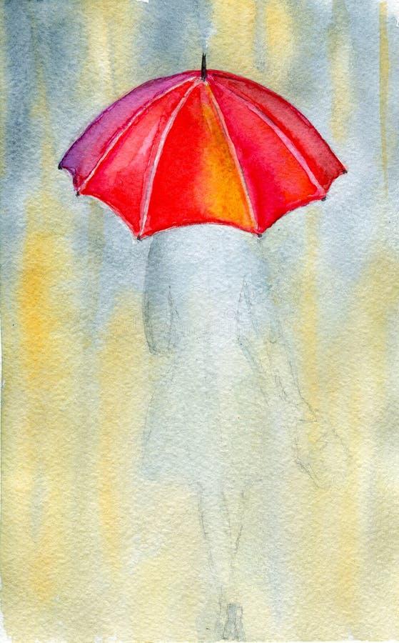 Женщина и дождь иллюстрация вектора