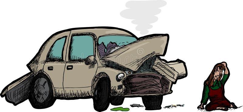 Женщина и разрушенный автомобиль бесплатная иллюстрация