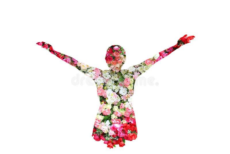 Женщина и розы цветут в двойной экспозиции на белой предпосылке стоковые изображения rf