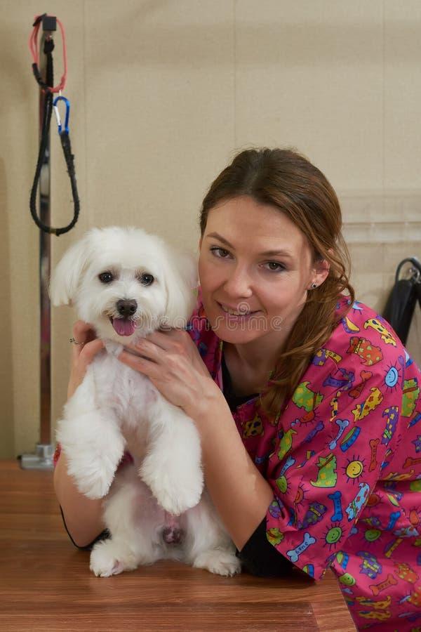 Женщина и собака крытые стоковая фотография