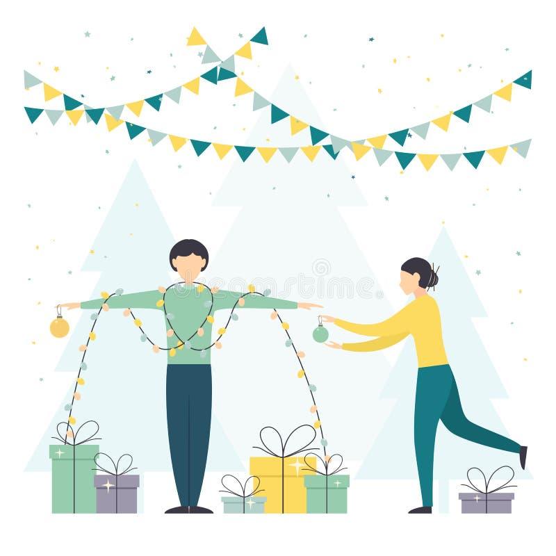 Женщина и человек со светами и настоящими моментами рождества иллюстрация вектора