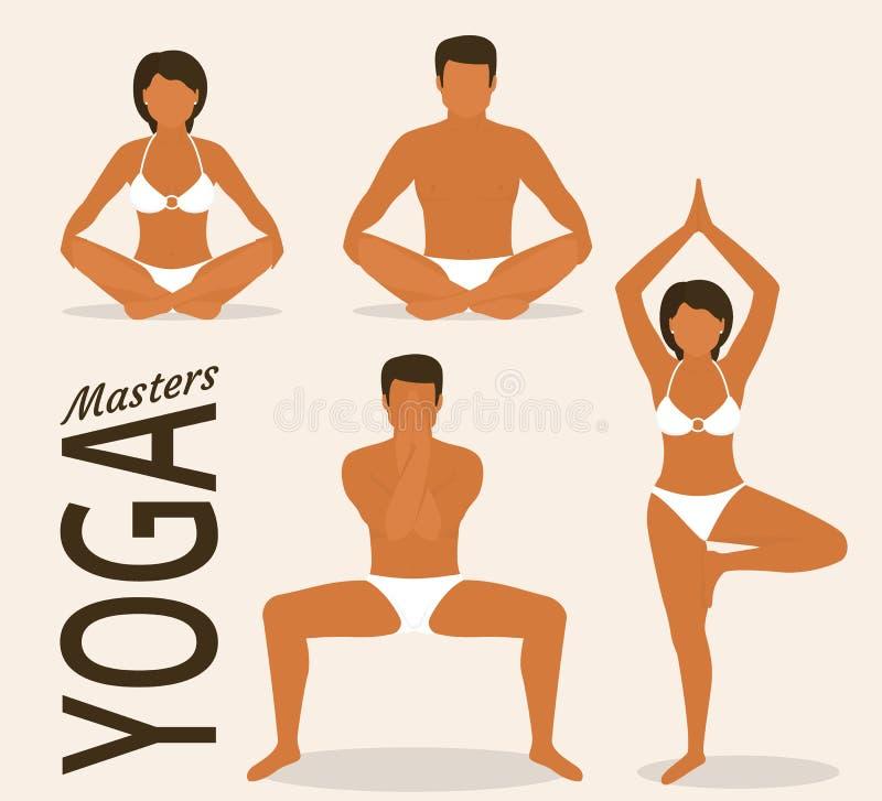 Женщина и человек делают йогу иллюстрация вектора