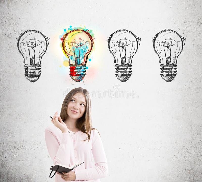Женщина и 4 эскиза электрической лампочки стоковое изображение