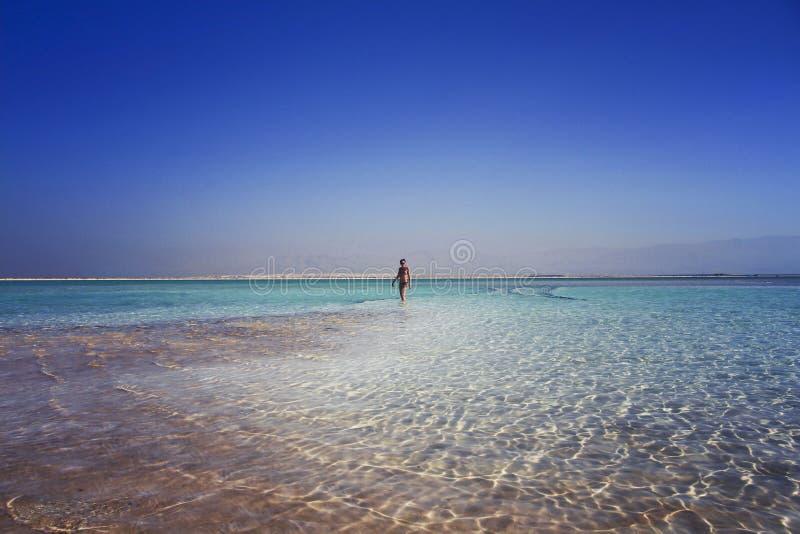 женщина идя в море Израиль воды мертвое стоковые фото