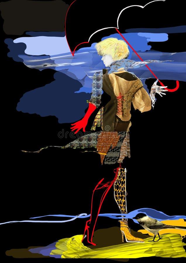 Download Женщина идя в дождь иллюстрация штока. иллюстрации насчитывающей вечер - 40576774