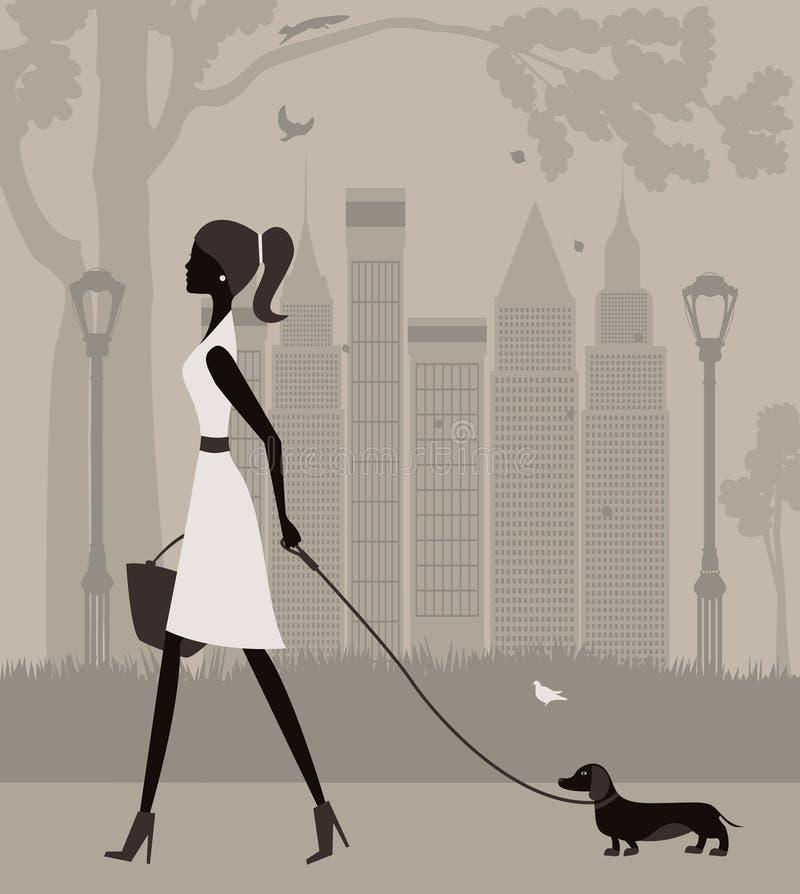 Женщина идя с собакой. иллюстрация вектора
