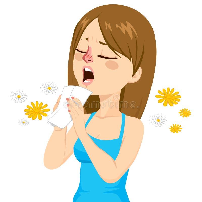 Женщина идя чихнуть бесплатная иллюстрация
