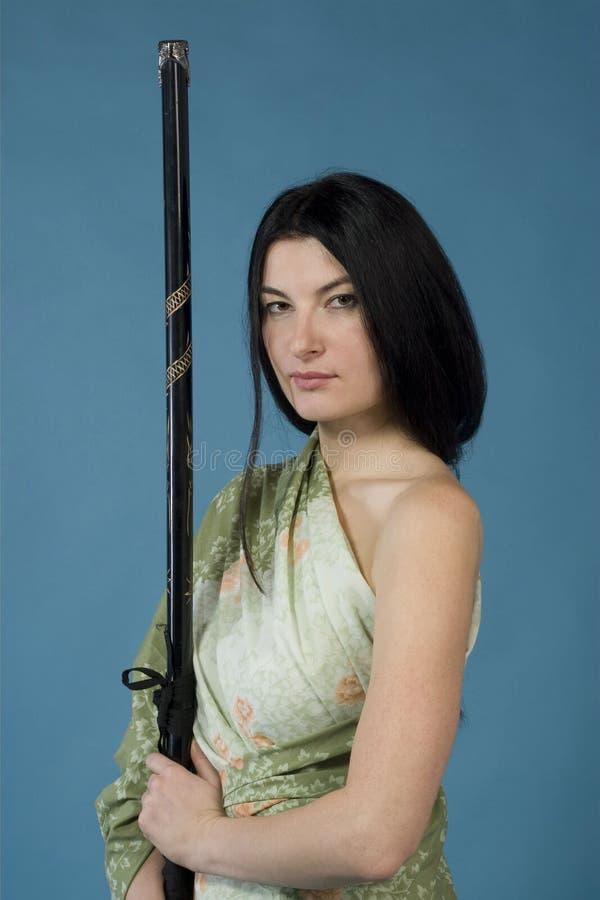 Женщина и katana/шпага стоковое фото rf