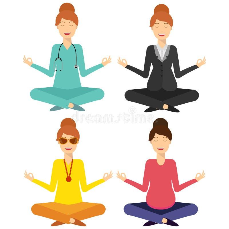 Женщина йоги усмехаясь, комплект иллюстрация штока