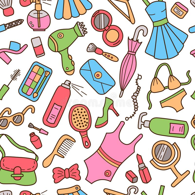 Женщина картина безшовная Стиль Doodle и шаржа цвет иллюстрация штока