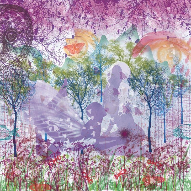 Женщина картины фиолетовой влюбленности графическая цифровая и человек стоковые изображения