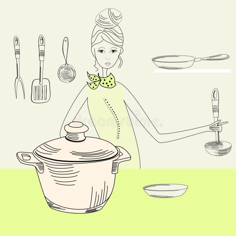 женщина кашевара бесплатная иллюстрация