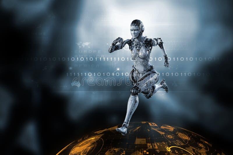 Женщина киборга серебряная идущая r стоковые изображения