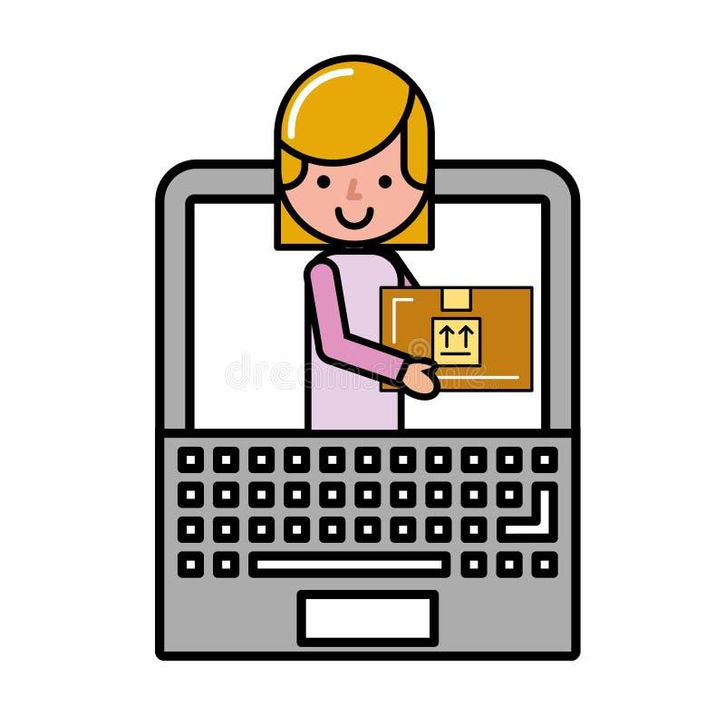 Женщина клиента в покупках пакета ноутбука онлайн иллюстрация штока