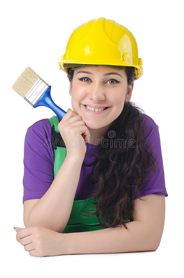 женщина колеривщика белая стоковое фото
