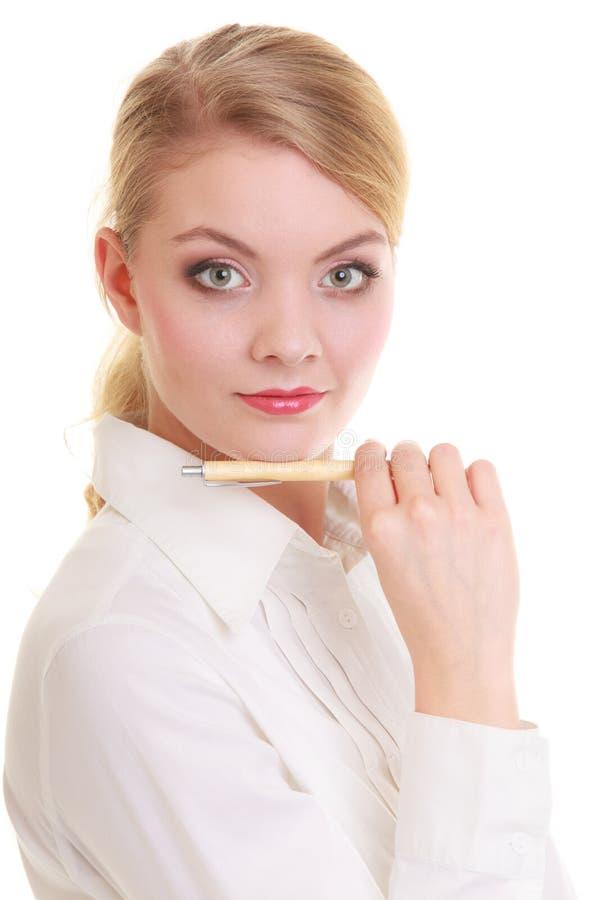 Женщина коммерсантки при изолированная ручка стоковые изображения