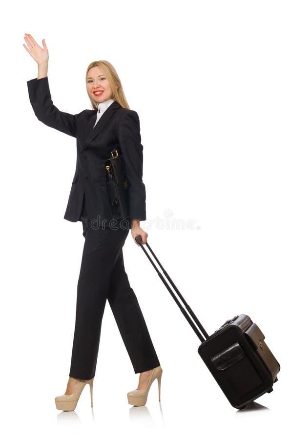 Женщина коммерсантки путешествуя с чемоданом стоковая фотография rf