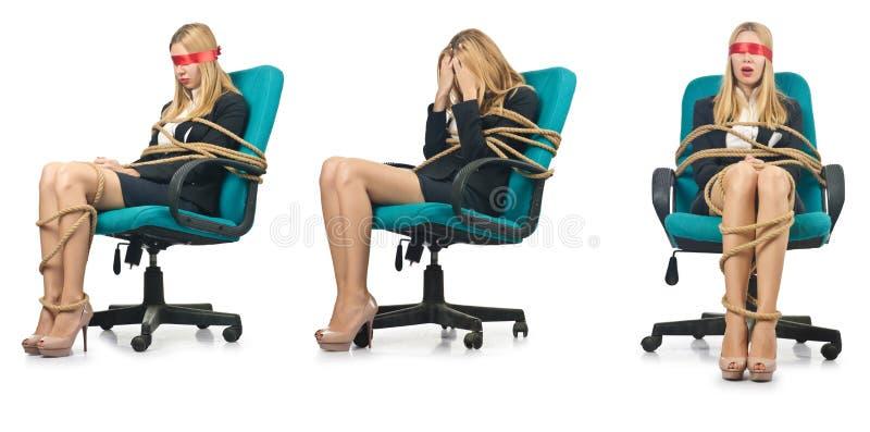 Женщина коммерсантки связанная вверх с веревочкой стоковое фото