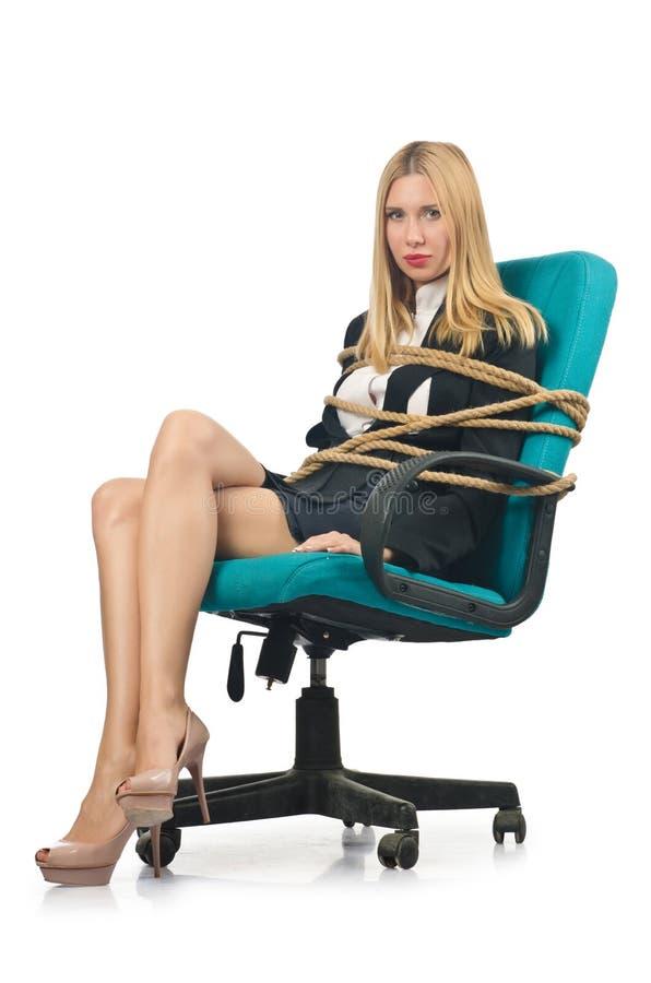 Женщина коммерсантки связанная вверх стоковые изображения rf