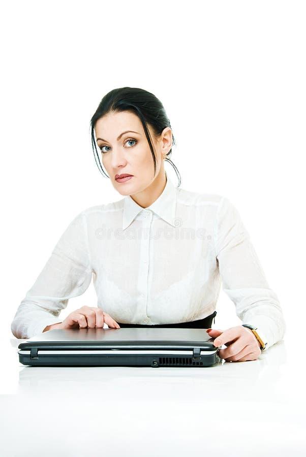 женщина компьтер-книжки стоковая фотография rf