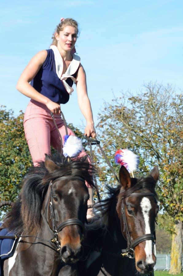 Женщина конноспортивной справедливой лошади East Anglia гимнастическая на 2 лошадях стоковые фото