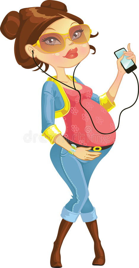 женщина костюма голубого телефона супоросая милая иллюстрация штока