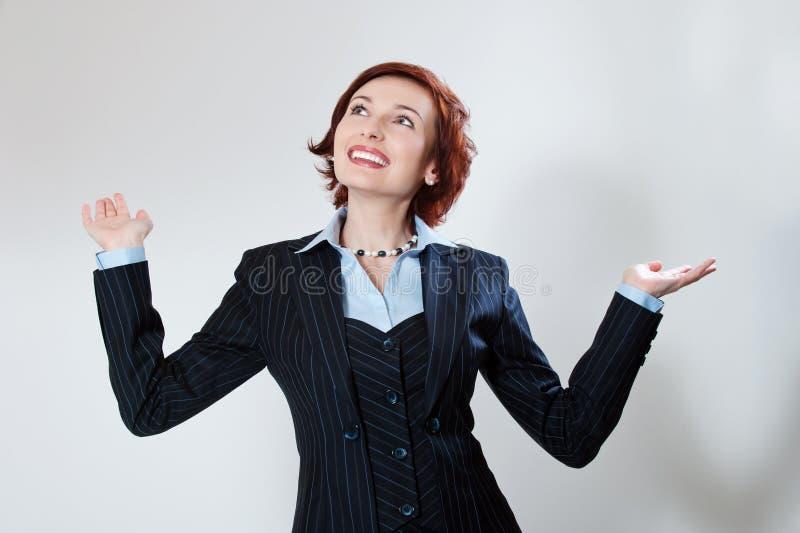 женщина костюма успеха привлекательного дела счастливая стоковые фотографии rf