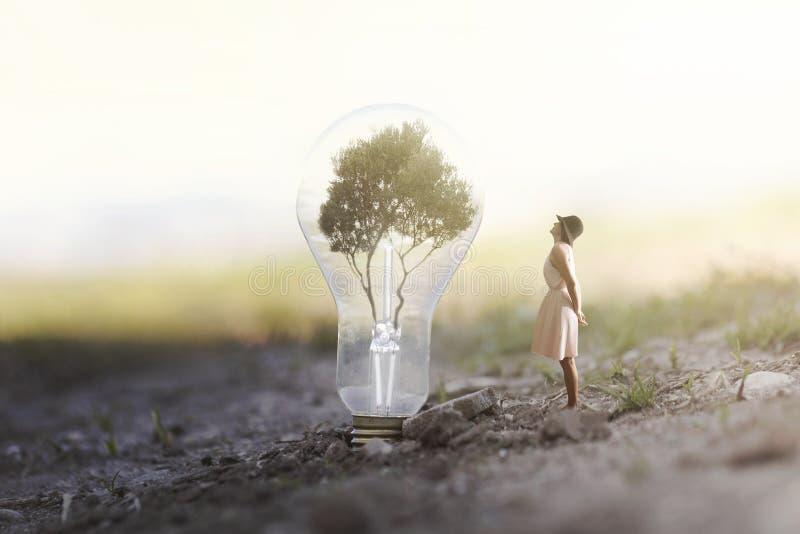 Женщина которая наблюдает заинтригованный гигантскому шарику содержа дерево для возобновляющей энергии стоковое фото rf