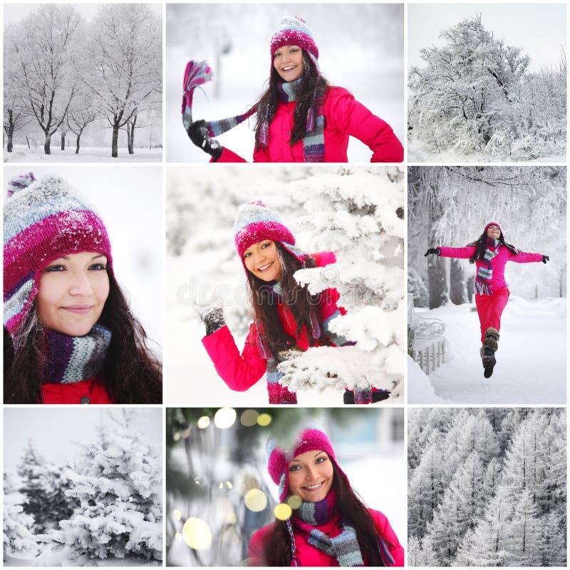 Женщина коллажа в парке зимы стоковая фотография rf