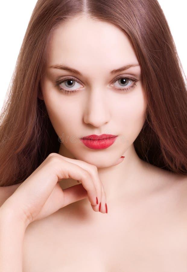 Download женщина красивейшего портрета губ красная чувственная Стоковое Фото - изображение насчитывающей внимательность, сторона: 18381798
